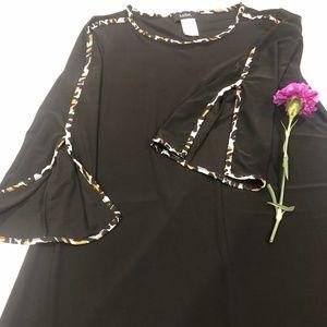 New black dress with animal print trim - sz Med